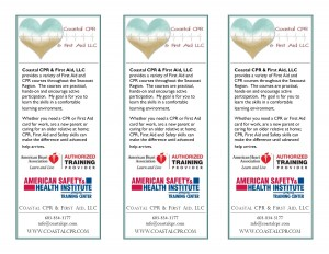 Coastal CPR & First Aid Rack Cards 2013 back - full size