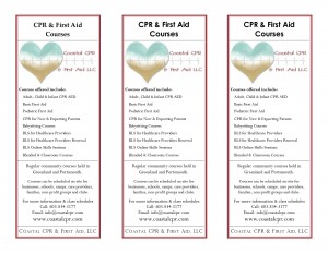 Coastal CPR & First Aid Rack Cards 2013 front - full size