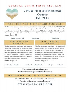 Coastal CPR UNH Fall 2013 Renewal class Flyer
