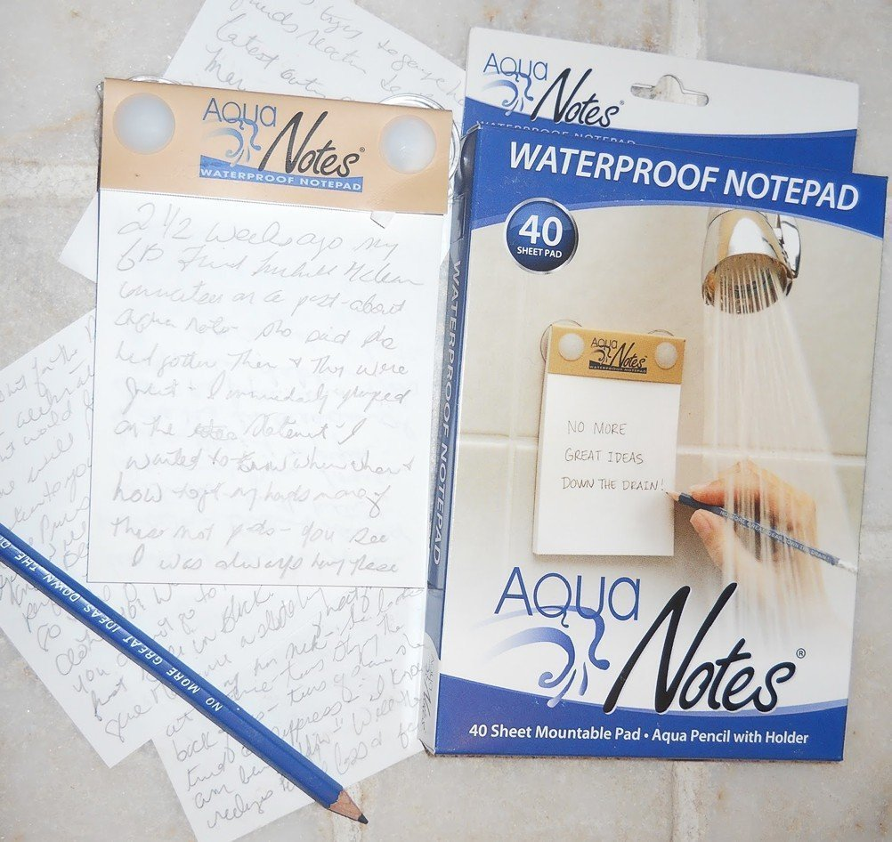 Waterproof notepad from Amazon. https://is.gd/OQlSau
